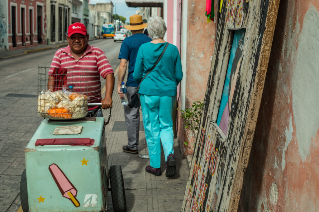 Ice cream vendor in downtown Mérida, Mexico. Living in Mérida you can find ice cream everywhere on the streets in the summer.