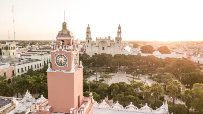 More expats are living in Merida. Views from the town square in Merida Mexico at sunrise.
