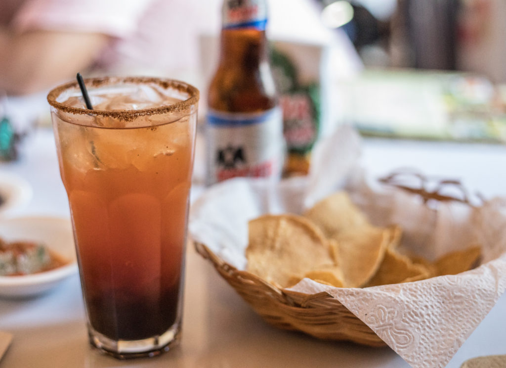 Chaya Maya restaurant michelada. A great restaurant in Mexico for people visiting of living in Merida.