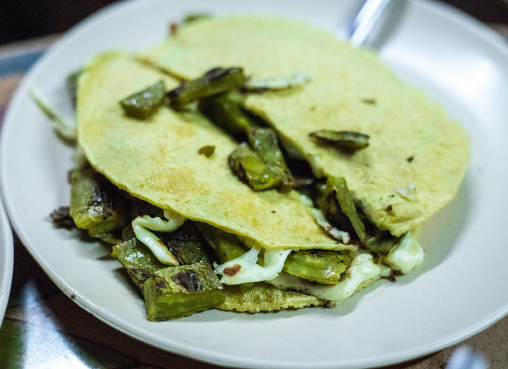 Nopales quesadillas in Roma Norte. Some of the most popular food in Mexico City.