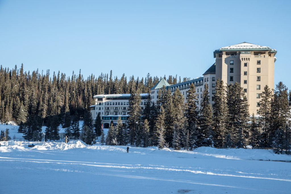 Lake Louise Fairmont Hotel in the winter