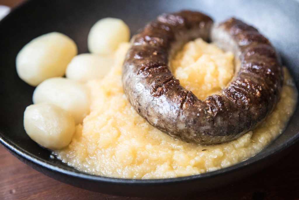 Local food in roros norway sausage and boiled popato at Kaffestugu