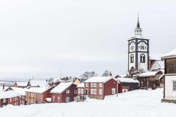 Town of Røros Norway in winter covered in snow